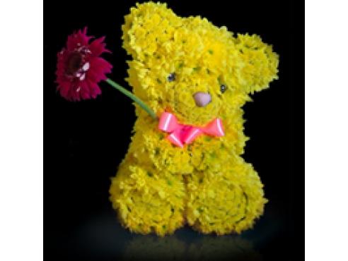 Жёлтый мишка с герберой