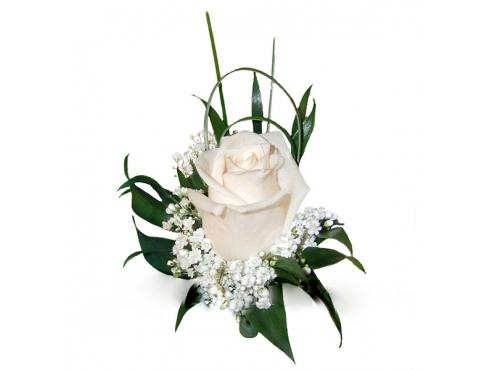 Бутоньерка жениха с розой,гипсофилой,и зеленью