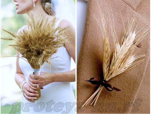 Авторский свадебный букет из пшеницы с бутоньеркой