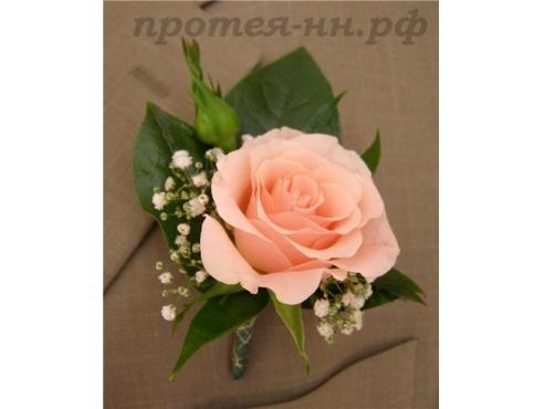 Бутоньерка жениха с розой и гипсофилой
