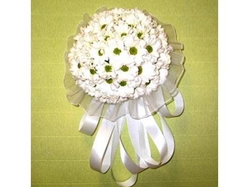 Букет невесты из хризантем в портбукетнице