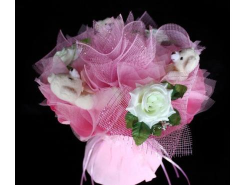 Букет с мишками и розами